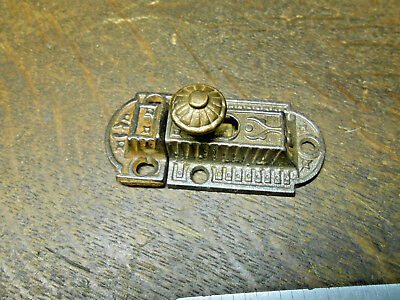 Vintage Cabinet Cupboard Latch Victorian Cast Iron With Brass Knob w/ Catch #12