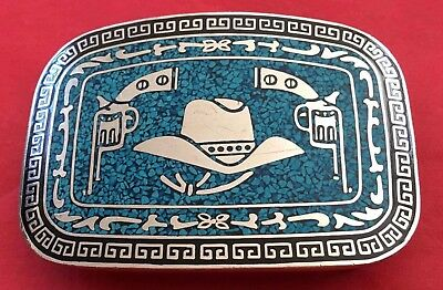 VTG Heavy Silver Plate *COWBOY HAT & REVOLVERS* Turquoise Chip Inlay BELT BUCKLE