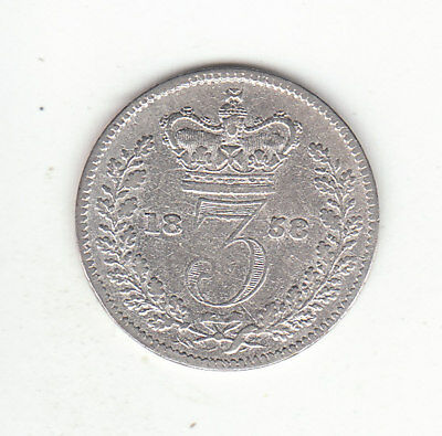 1858 Great Britain Queen Victoria Sterling Silver Threepence.  Scarce.
