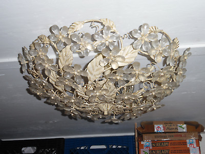 Vintage 5 Bulb Ornate Metal Ceiling Light Fixture