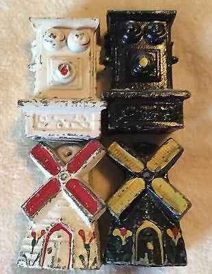 Vintage Steampunk Cast Iron set of 2 Salt & Pepper Shakers~Phones Windmills