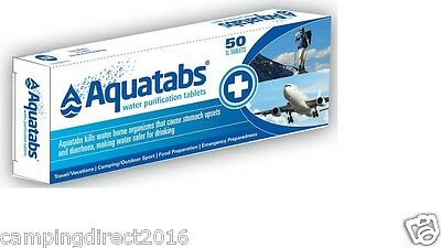 Aquatabs 50 Pack Tablets Potable Water Purification Camping Survival Travel Safe