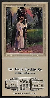 Antique Vintage 3 Month Calendar With Print By James Arthur Of Woman At Gate