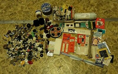 Antique Sewing Lot Buttons, Needles, Velcro, Singer, Glass/Military Buttons