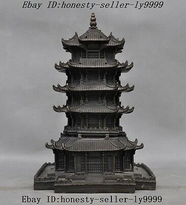 Chinese Tibetan Buddhism temple pure bronze Tower stupa pagoda town house statue