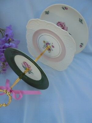 WEDDING CAKE STAND American Rose 3 Tier Serving Tray Vintage China Gift for Her