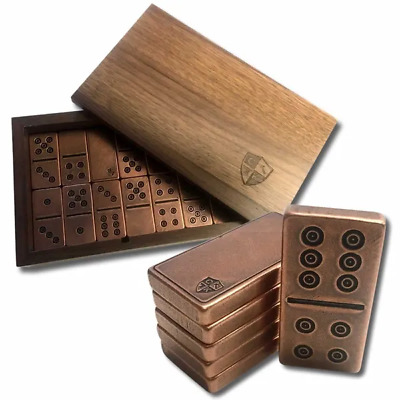 Solid .999 Copper Traditional/Viking Design Double Six Domino Set In Walnut Box