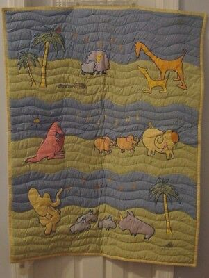 Carters 1999 John Lennon Baby Quilt Real Love Musical Parade Music Notes Animals