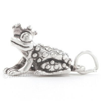 3D FROG PRINCE Crown fairy tale princess Charm Pendant Solid 925 Sterling Silver