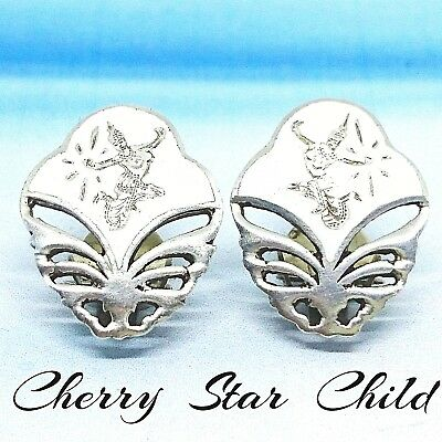 Vintage solid sterling silver 925 Siam enamel white clip on earrings Sydney sell