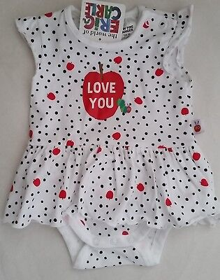 THE VERY HUNGRY CATERPILLAR Girl Licensed romper dress LOVE YOU NEW sizes 00-1