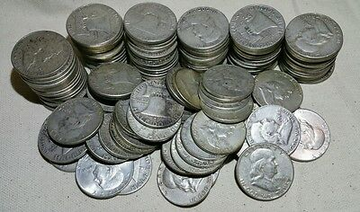 Lot of 10 Silver Franklin Half Dollars (Random Dates 1948-1963) - Free Shipping!