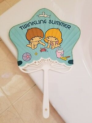 Vintage Sanrio Little Twin Stars Twinkling Summer 1970s Paper Fan, Made in Japan