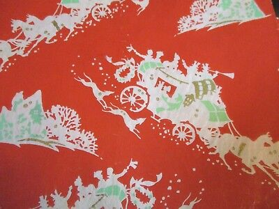 VTG Red Christmas Wrapping Paper Mid-Century Victorian Carriage Horses Dogs