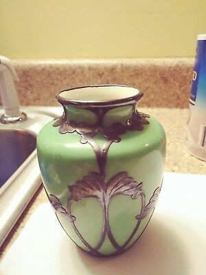 lenox vase, antique 19th century, green, silver overlay,