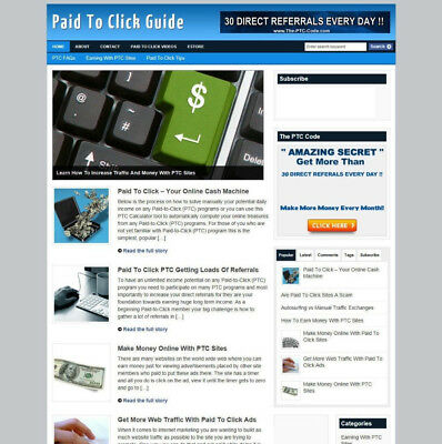 Paid To Click Advice Website For Sale With Uk Affiliate Store + Free Domain