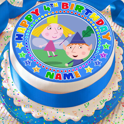 Ben And Holly Happy Birthday Personalised 7.5 Inch Precut Edible Cake Topper