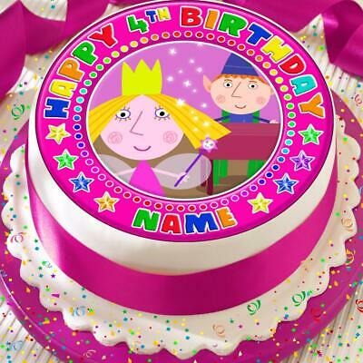 Ben And Holly Birthday Pink Personalised 7.5 Inch Precut Edible Cake Topper