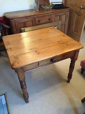 Antique Original Victorian Pine Kitchen Table With Drawer