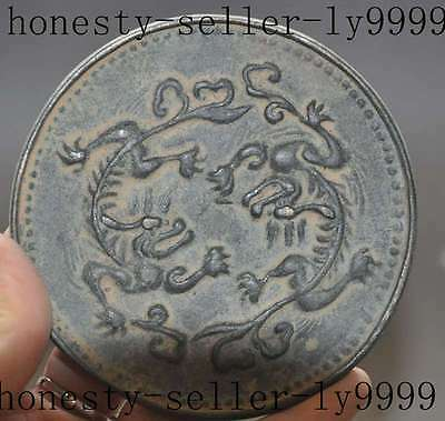 8.7cm China Dynasty palace evil pure bronze 2 dragon beast Bronze Mirrors statue