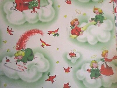 VTG Christmas White Wrapping Paper Mid-Century Sweet Angels Playing On Clouds