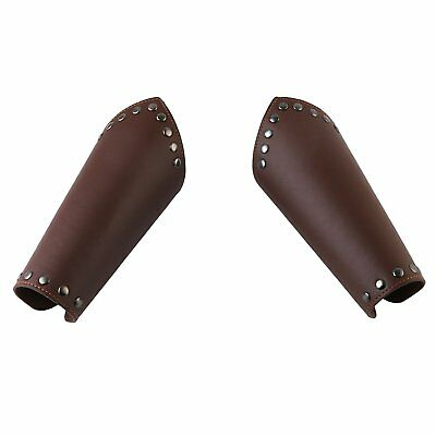HZMAN Faux Leather Arm Guards - Medieval Cross Bracers - One Size, Brown