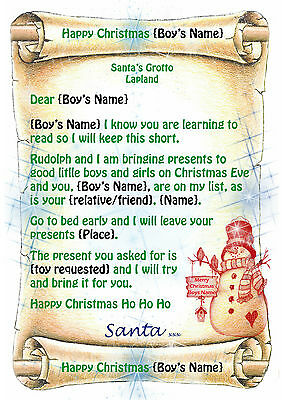 Girls personalised letter from santa father christmas with north young boys tinytot letter from santa father christmas with north pole envelope spiritdancerdesigns Choice Image