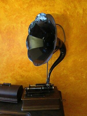 Antique Edison Model E Phonograph w Horn,Cylinder Carry Case  WORKS