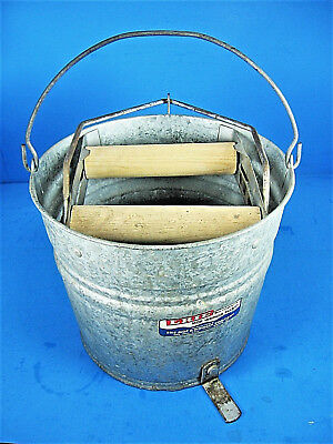 Vintage ERIE Galvanized Metal Automatic Mop Wringer Bucket