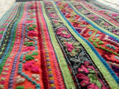 HMONG Antique Handmade Fabric Embroidery Tablecloth Decorate Hippie Vintage R-15