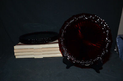 Avon 1876 Cape Cod Collection Red Ruby Glass Dinner Plates - Lot of Four
