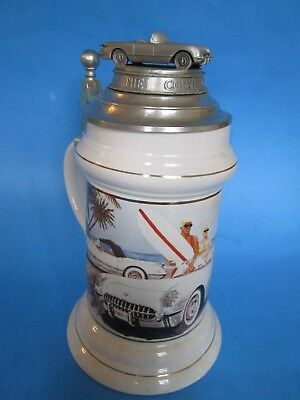 """Limited Edition #1767 """"the First One"""" 1953 Corvette Collectors Lidded Stein,mint"""
