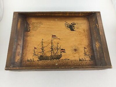 Dutch Vintage Serving Tray with a picture of a Ship and Description 16 Inch
