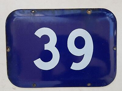 BIG vintage ISRAELI enamel porcelain number 39 house sign # 39