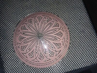 "Vintage Ceiling light fixture shade, pink / clear, 9 1/4"" wide"