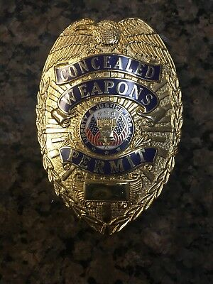 Concealed Weapons Permit badge Gold colored full size