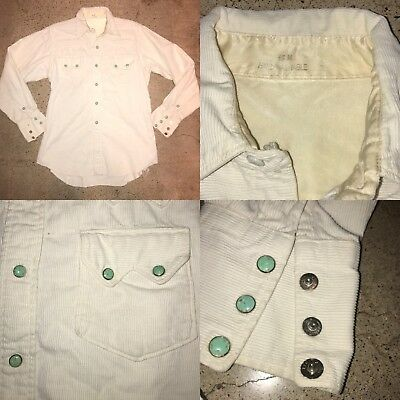 Vtg 50s Sawtooth Hand Washable Cord Pique Western Snap Cowboy Shirt 15 3 Yoke S