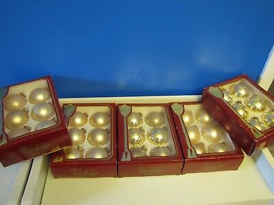 """5 Boxes Lot Vtg Antique Victoria Collection Gold Glass Large 2.5"""" Ball Ornaments"""