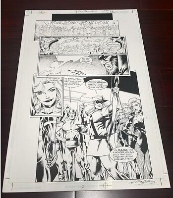 DC COMICS JLA Green Arrow, Black Canary Original Published Comic Book Art Page.