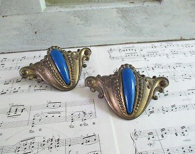 Pair of Vintage Ornate Brass Drawer Pulls With Blue Accent