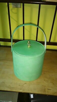 Vintage lime green ice bucket with lid