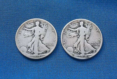 Lot of 2: 1918S 1918D Walking Liberty Half Dollars 90% Silver Free Shipping!