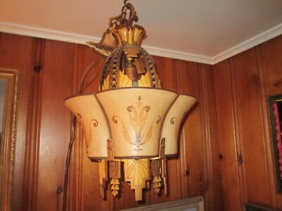 Vintage 1920s/30s Beardslee Williamson Art Deco Slip Shade Ceiling Light Fixture