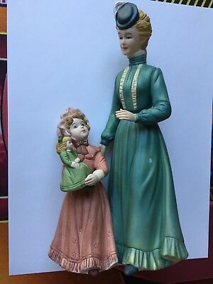 "Homco Figurine Mother Daughter Doll 8812  8 1/2"" Lady"