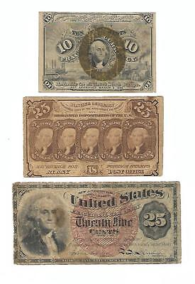 Set of 3 U.S. Fractional notes: one  10 CENTS + two  25 CENTS notes. 1860s