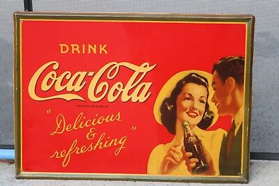 1942  Drink COCA COLA TIN SIGN  Refreshing and Delicious  COUPLE SIGN EXCELLENT