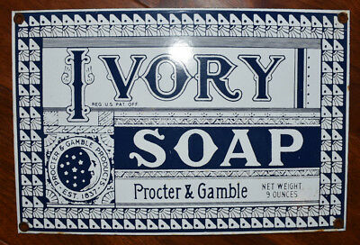 Vintage Porcelain Enamel Sign PROCTER AND GAMBLE IVORY SOAP Blue & White 12 x 8