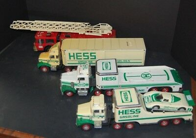 Hess LOT of 5 Vintage Trucks Race Car Fuel Fire Transport Truck Non Working