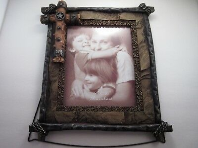 Western Cross 8 X 10 Picture Frame Rock Barbed Wire Star Rustic