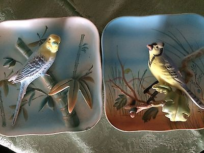 """Set Of Two Napco Bird Plaques Ceramic Vintage Blue Jay And Parakeet 5"""" X 5"""""""